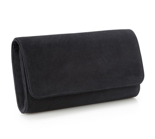 """Natasha"" Clutch in Carbon Suede"