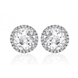 """Grace"" White Topaz & Diamond Studs"