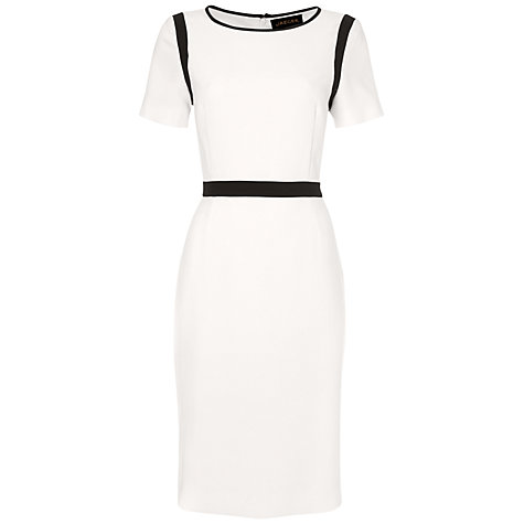 White & Navy Crepe Sheath