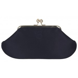 """Maud"" Black Satin Clutch"