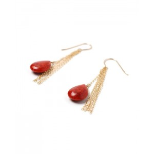 Red Sponge Coral & Gold Earrings