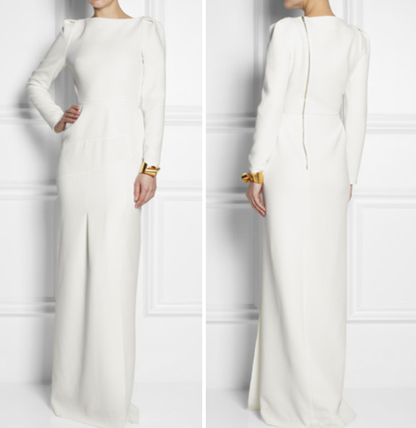 """Lombard"" Slitted White Gown"