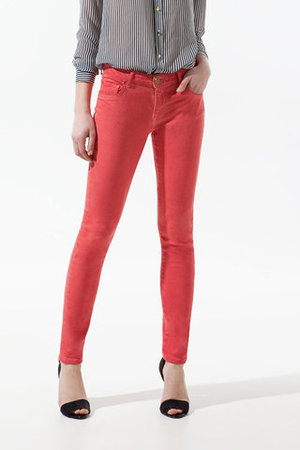 """Pop Slim Fit"" Coral Jeans"