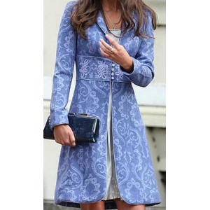 Periwinkle Brocade Coat