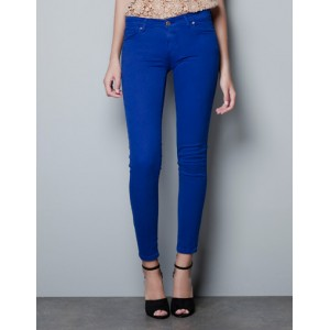 """Satin Trouser"" Cobalt Slim Fit Skinnies"