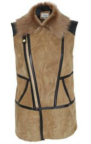 Leather & Shearling Contrast Gilet/Vest