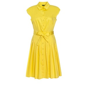 Yellow Pleated Shirt Dress