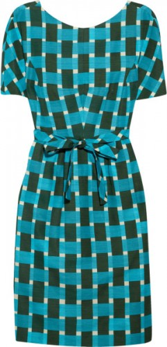 """Evelyn"" Aqua Print Sheath"