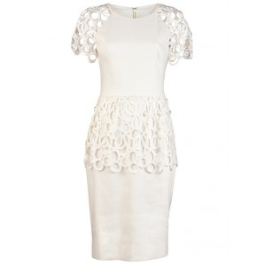 Circle-Lace Peplum Cocktail Dress