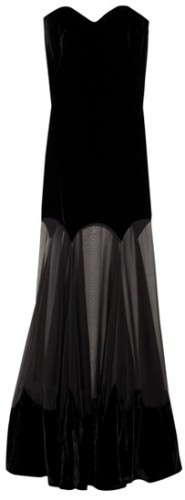 Strapless Velvet Evening Gown