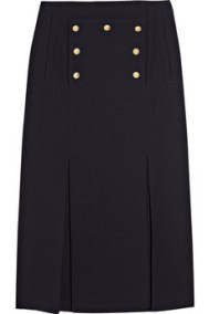 Button Embellished Navy Skirt