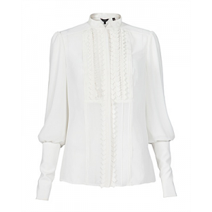 """Stardy"" Pleated Bib Blouse"