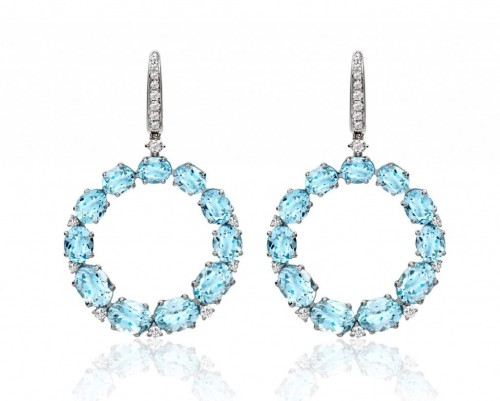 Bespoke Blue Topaz & Diamond Hoops