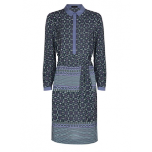 Silk Tile Print Shirt Dress