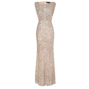Gold Sequined Evening Gown