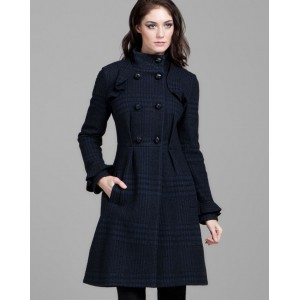 """Simyonette"" Plaid Ruffle Coat"