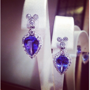 Tanzanite & Diamond Pear Earrings