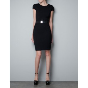Black Dress with Pleated Sleeve