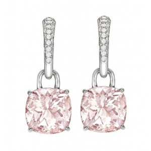 Morganite and Diamond Cushion Drop Earrings