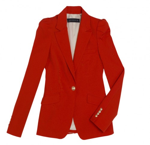 Red Blazer With Gathered Shoulders