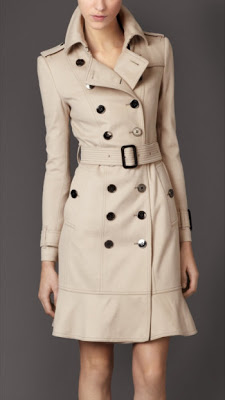 Wool Trench With Frilled Hem