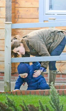 Kate in Barbour at Play Park
