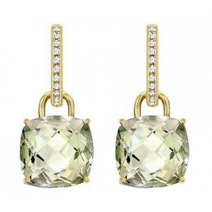 Cushion Cut Green Amethyst Drops