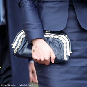 Navy Leather Shell Clutch