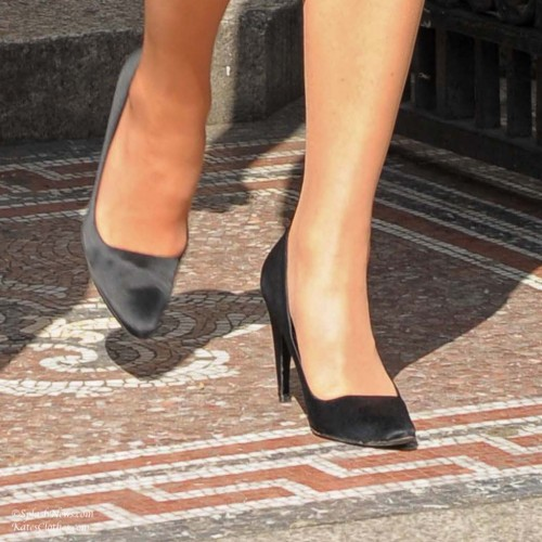 Black Satin Prada Pumps