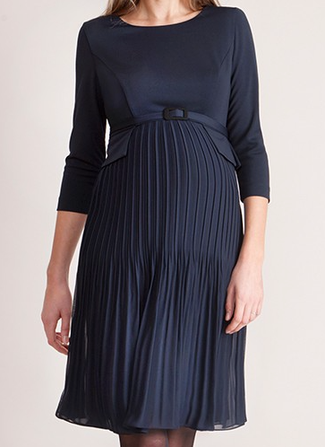 """Sophia"" Navy Pleated Maternity Dress"