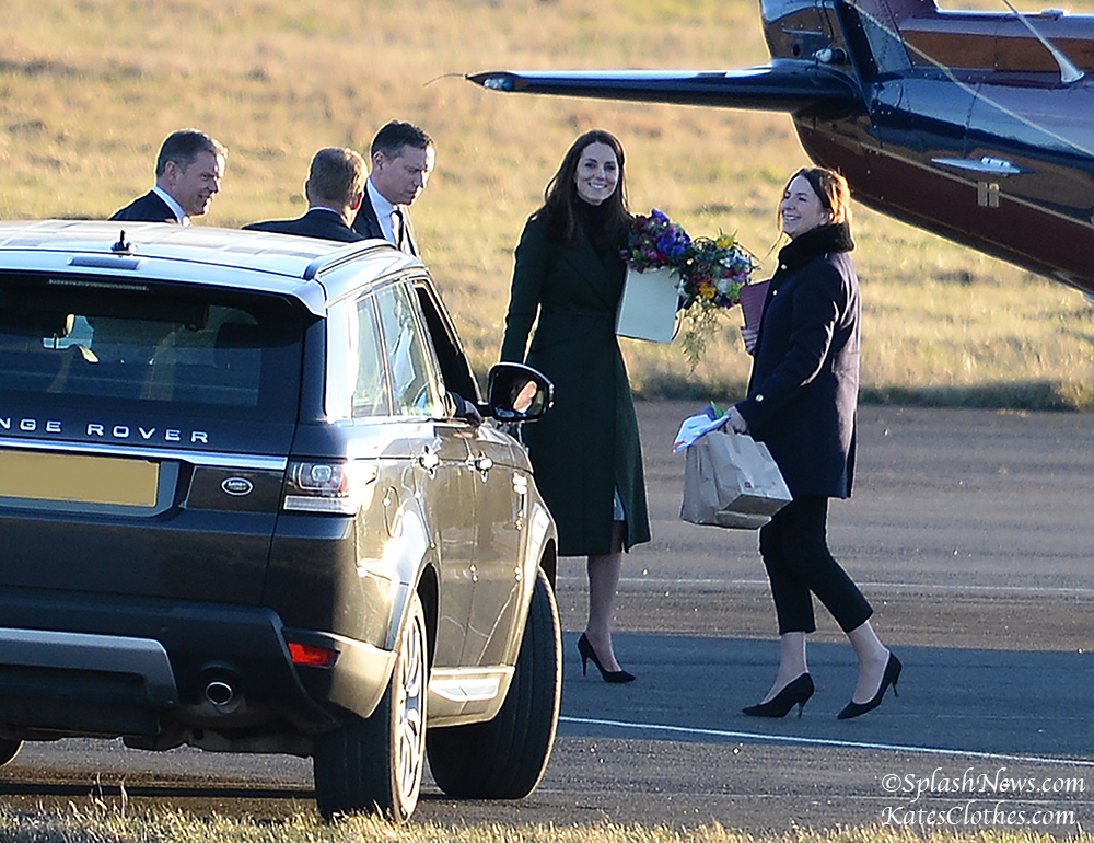 The Duchess of Cambridge leaves Edinburgh Airport by Royal Helicopter