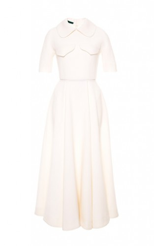 Wool-Crepe Cream Midi