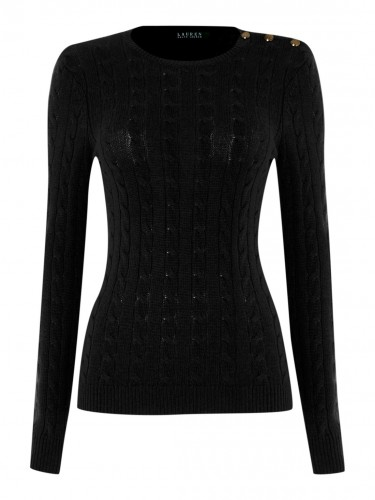 """""""Verionika"""" Black Cable Knit w/ Buttons"""