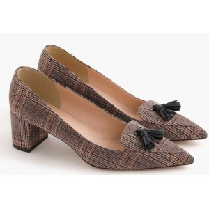"""Avery"" Chunky Heels in Tweed"
