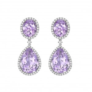 Lavender Amethyst Pear and Oval Drops