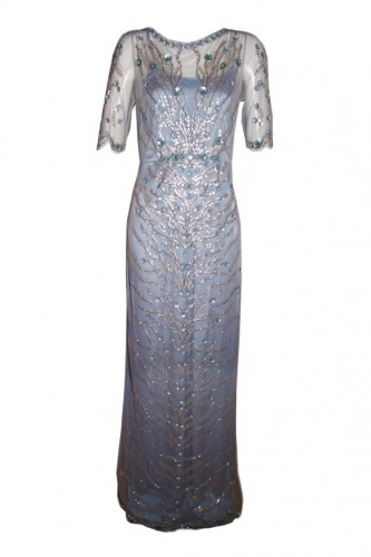 Blue Embellished Evening Gown