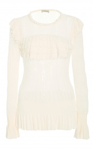 Cypre Pointelle Frill Top