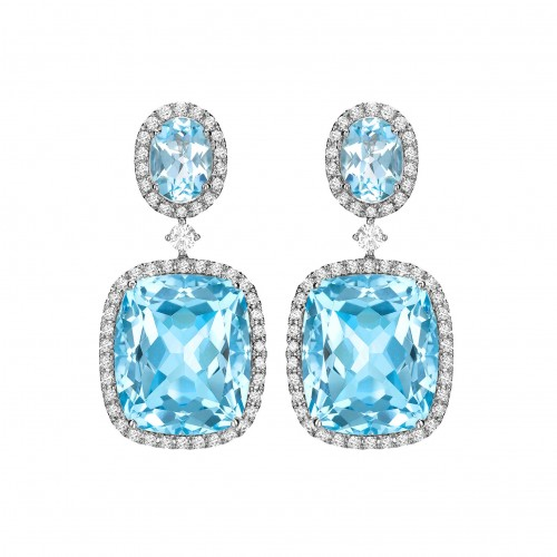 Blue Topaz & Diamond Drops