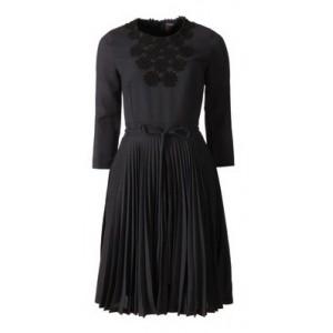 Pleated Grey Daisy Dress