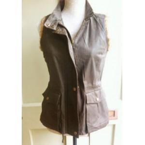 Fur Trimmed Leather Gilet/Vest