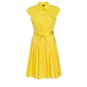 Yellow Pleated Shirt Dress