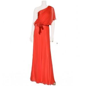 Silver Asymmetric Evening Gown