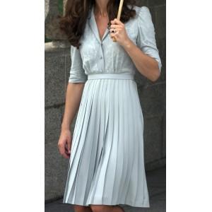 "Custom ""Duck Egg"" Pleated Dress"