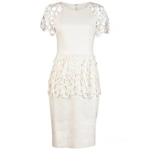 Circle-Lace Peplum Cocktail Dress