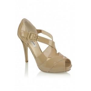 """""""Silver"""" Cross-Strap Sandal Heels"""