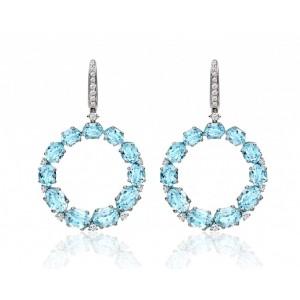 Bespoke Blue Topaz & Diamond Hoops