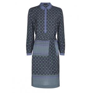 Silk Tile Print Shirt Dress