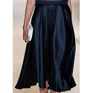 Ink Blue Silk Skirt