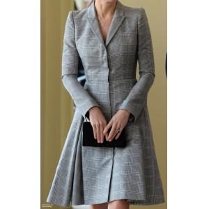 Grey Checkered Coat-Dress