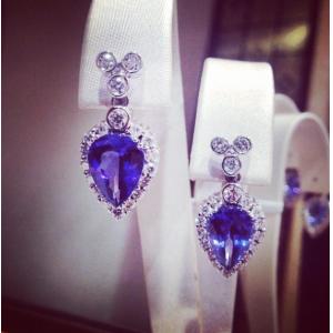 Tanzanite & Diamond Pear Earrings